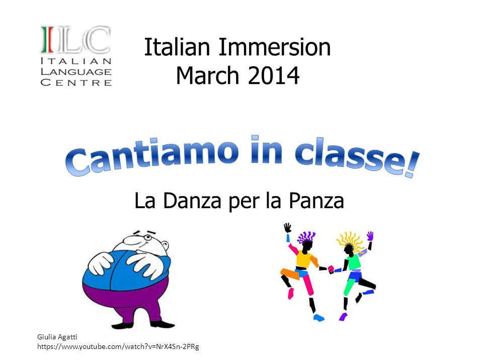 Italian Immersion March 2014 La Danza per la Panza Giulia Agatti https://www.youtube.com/watch?v=NrX4Sn-2PRg