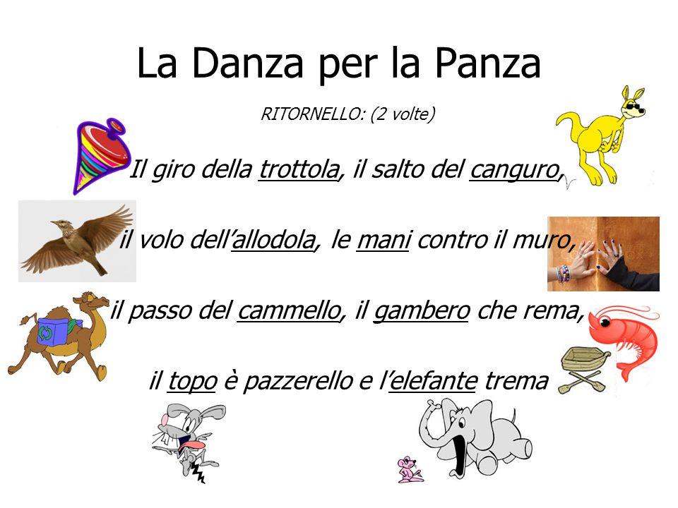 La Danza per la Panza RITORNELLO: (2 volte) Il giro della trottola, il salto del canguro, il volo dell'allodola, le mani contro il muro, il passo del