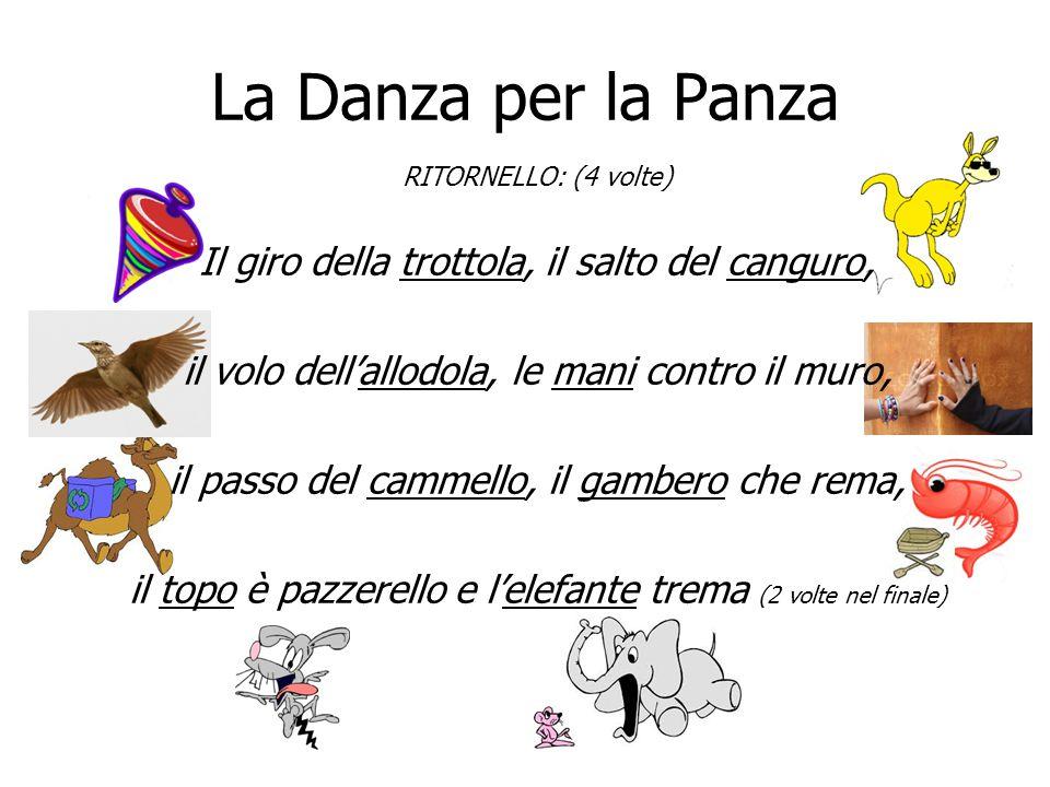 La Danza per la Panza RITORNELLO: (4 volte) Il giro della trottola, il salto del canguro, il volo dell'allodola, le mani contro il muro, il passo del
