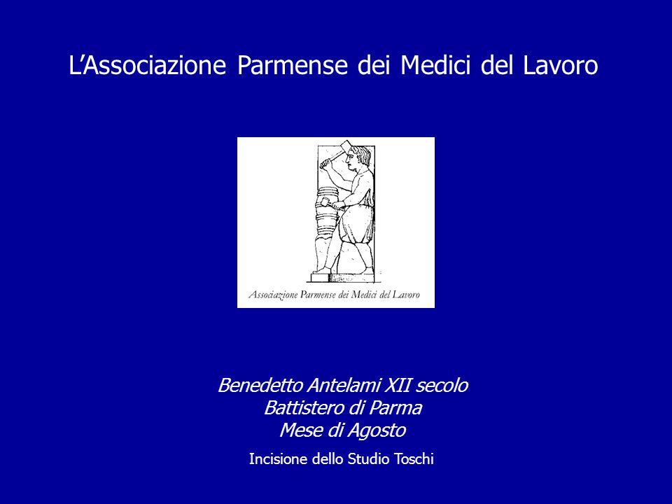 Benedetto Antelami XII secolo Battistero di Parma Mese di Agosto Incisione dello Studio Toschi L'Associazione Parmense dei Medici del Lavoro