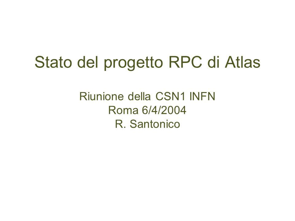 Stato del progetto RPC di Atlas Riunione della CSN1 INFN Roma 6/4/2004 R. Santonico