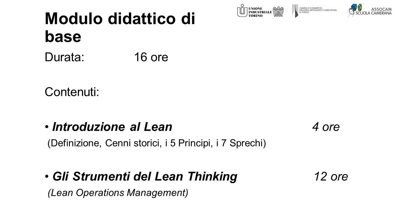 Modulo didattico di base Durata:16 ore Contenuti: Introduzione al Lean4 ore (Definizione, Cenni storici, i 5 Principi, i 7 Sprechi) Gli Strumenti del Lean Thinking 12 ore (Lean Operations Management)