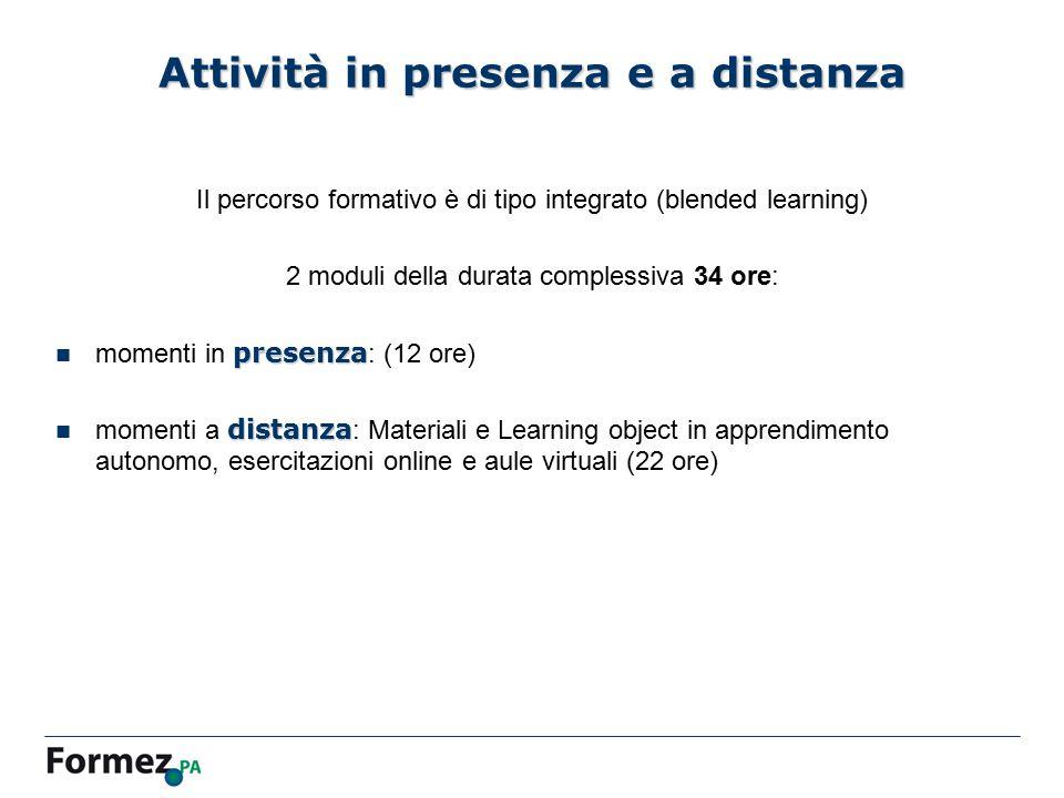 Attività in presenza e a distanza Il percorso formativo è di tipo integrato (blended learning) 2 moduli della durata complessiva 34 ore: presenza mome
