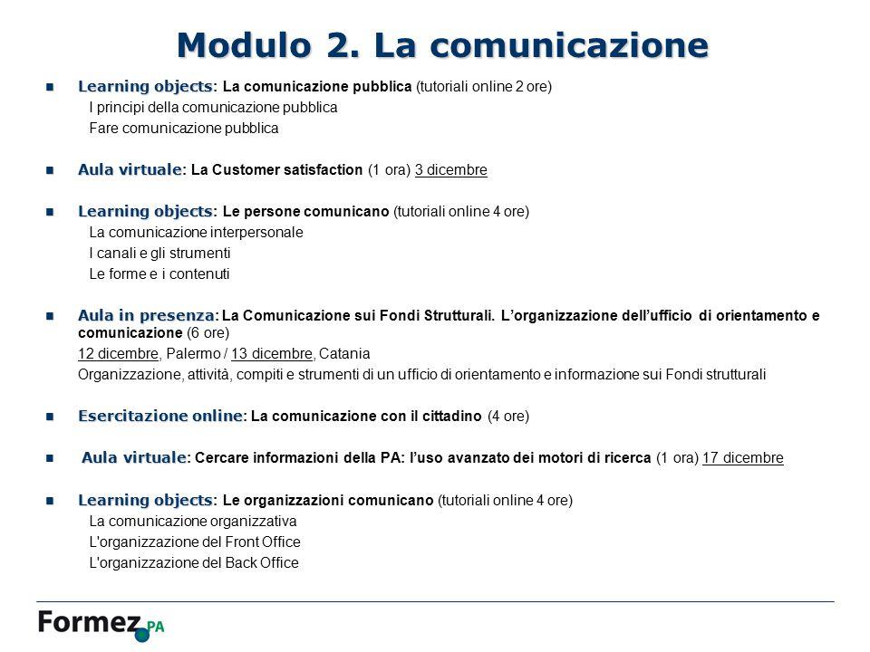 Modulo 2. La comunicazione Learning objects Learning objects : La comunicazione pubblica (tutoriali online 2 ore) I principi della comunicazione pubbl