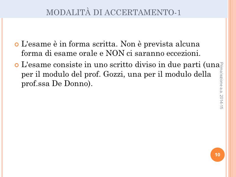 MODALITÀ DI ACCERTAMENTO-1 L esame è in forma scritta.