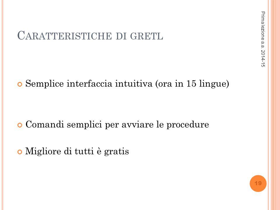 C ARATTERISTICHE DI GRETL Semplice interfaccia intuitiva (ora in 15 lingue) Comandi semplici per avviare le procedure Migliore di tutti è gratis Prima