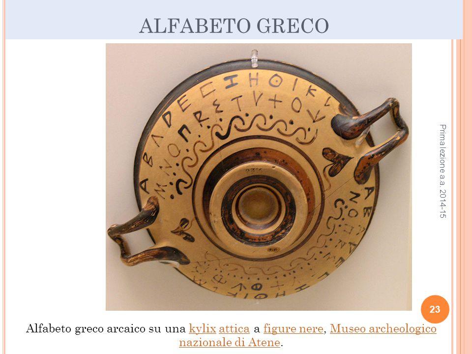 ALFABETO GRECO Prima lezione a.a.