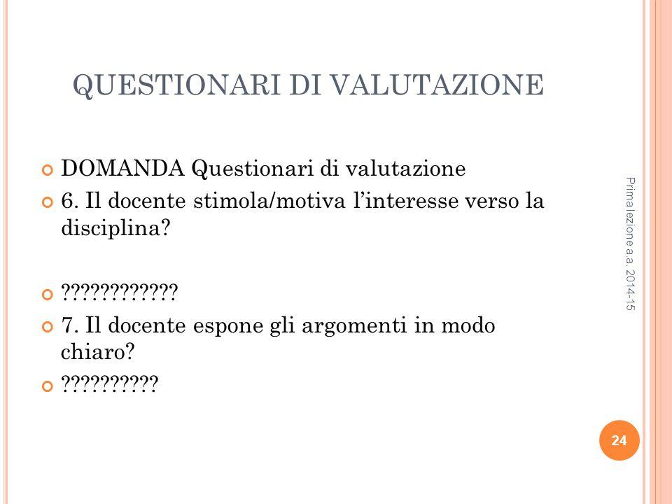 QUESTIONARI DI VALUTAZIONE DOMANDA Questionari di valutazione 6.
