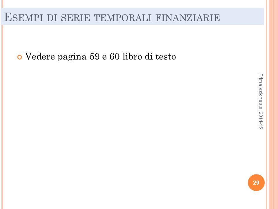 E SEMPI DI SERIE TEMPORALI FINANZIARIE Vedere pagina 59 e 60 libro di testo Prima lezione a.a. 2014-15 29