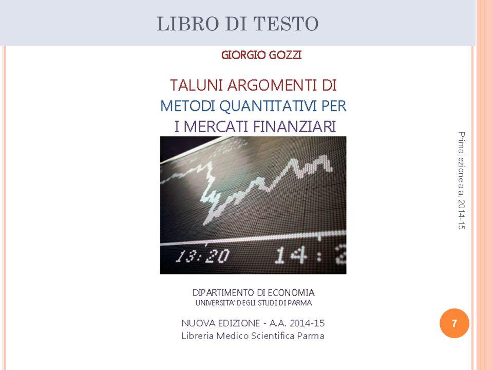 LIBRO DI TESTO Prima lezione a.a. 2014-15 7