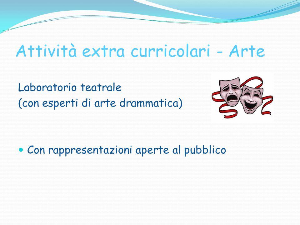 Attività extra curricolari - Arte Laboratorio teatrale (con esperti di arte drammatica) Con rappresentazioni aperte al pubblico