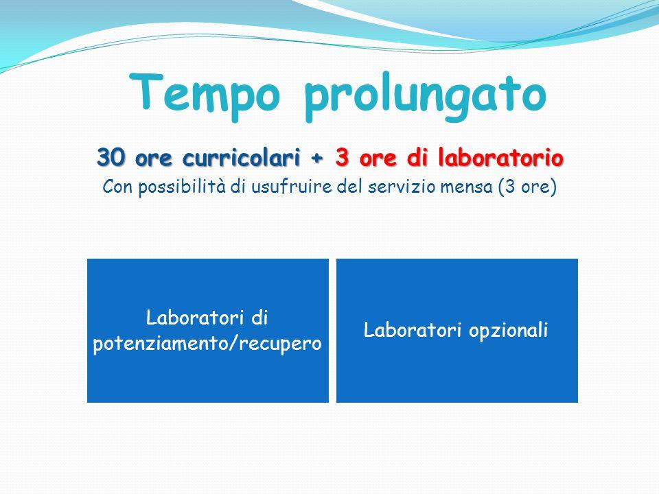 30 ore curricolari + 3 ore di laboratorio Con possibilità di usufruire del servizio mensa (3 ore) Laboratori di potenziamento/recupero Laboratori opzi
