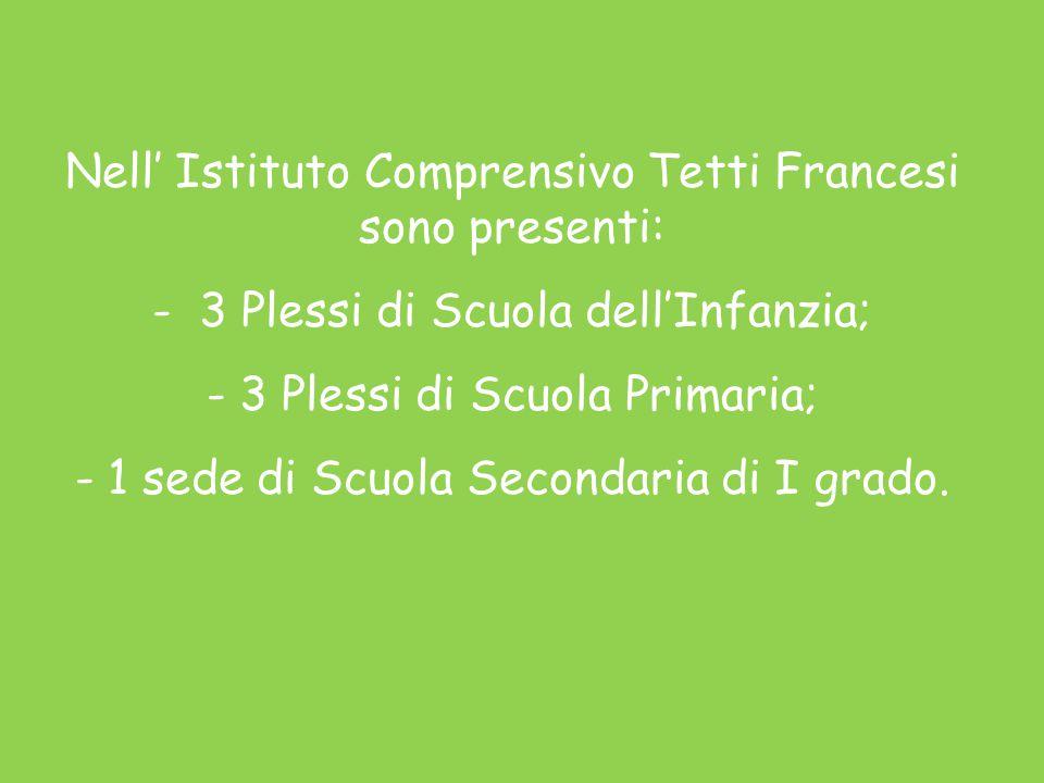 Nell' Istituto Comprensivo Tetti Francesi sono presenti: - 3 Plessi di Scuola dell'Infanzia; -3 Plessi di Scuola Primaria; -1 sede di Scuola Secondaria di I grado.