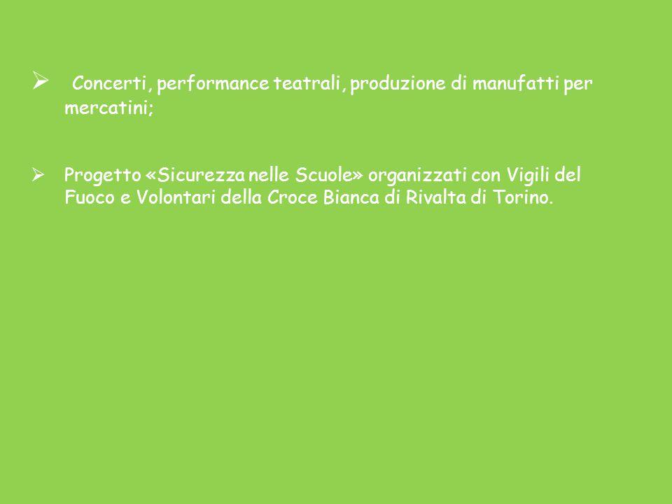  Concerti, performance teatrali, produzione di manufatti per mercatini;  Progetto «Sicurezza nelle Scuole» organizzati con Vigili del Fuoco e Volontari della Croce Bianca di Rivalta di Torino.