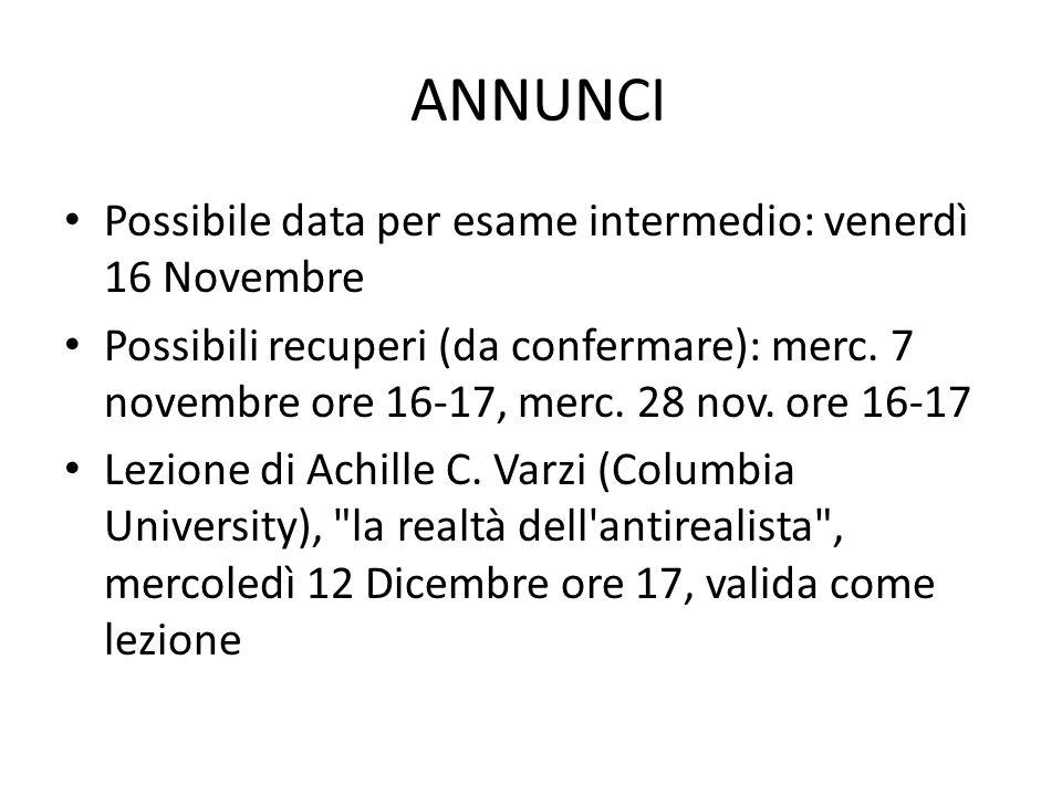 ANNUNCI Possibile data per esame intermedio: venerdì 16 Novembre Possibili recuperi (da confermare): merc.