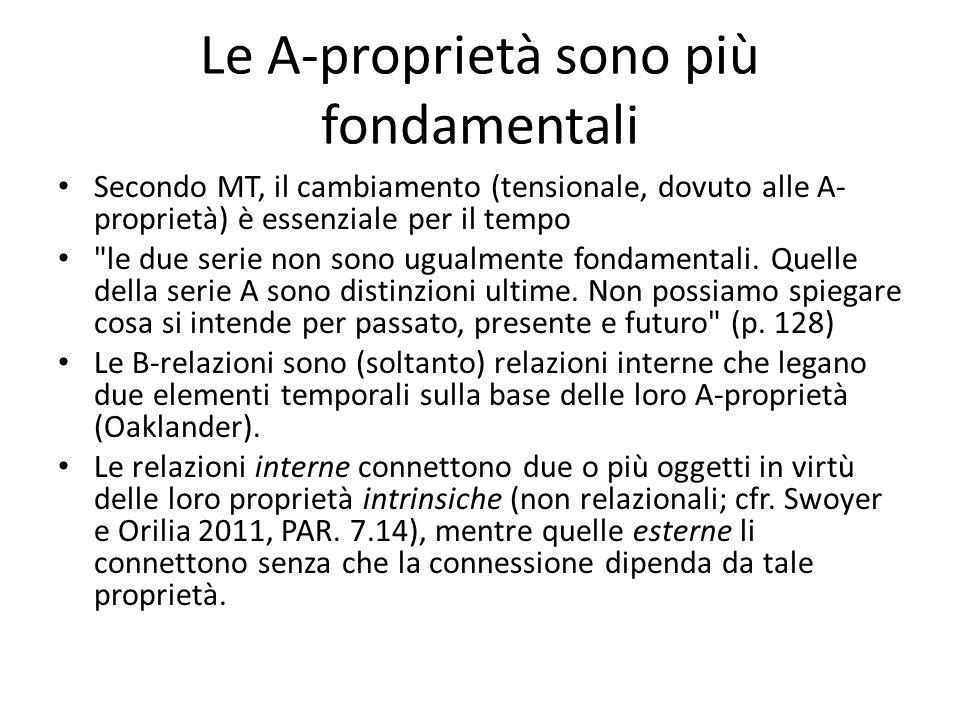 Le A-proprietà sono più fondamentali Secondo MT, il cambiamento (tensionale, dovuto alle A- proprietà) è essenziale per il tempo le due serie non sono ugualmente fondamentali.