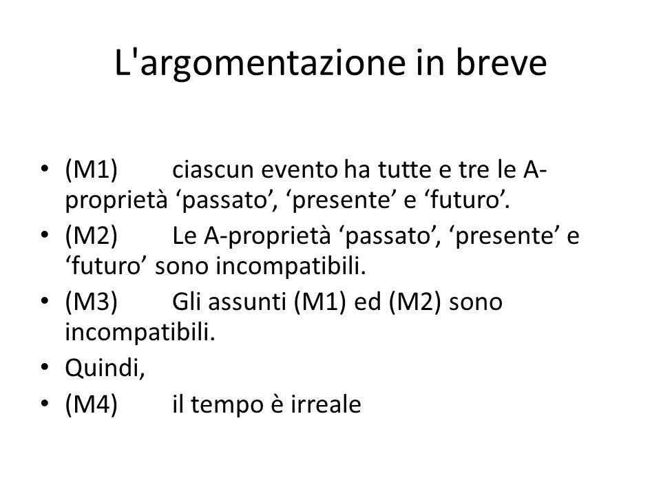 L argomentazione in breve (M1)ciascun evento ha tutte e tre le A- proprietà 'passato', 'presente' e 'futuro'.