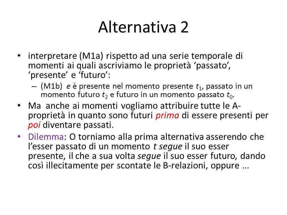 Alternativa 2 interpretare (M1a) rispetto ad una serie temporale di momenti ai quali ascriviamo le proprietà 'passato', 'presente' e 'futuro': – (M1b) e è presente nel momento presente t 1, passato in un momento futuro t 2 e futuro in un momento passato t 0.