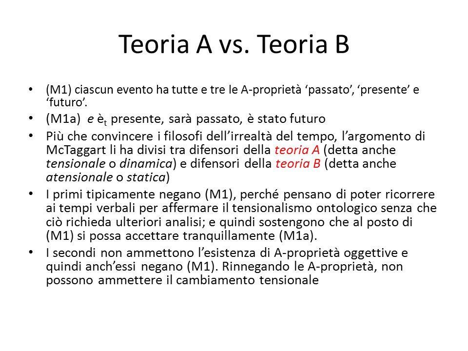 Teoria A vs. Teoria B (M1) ciascun evento ha tutte e tre le A-proprietà 'passato', 'presente' e 'futuro'. (M1a) e è t presente, sarà passato, è stato