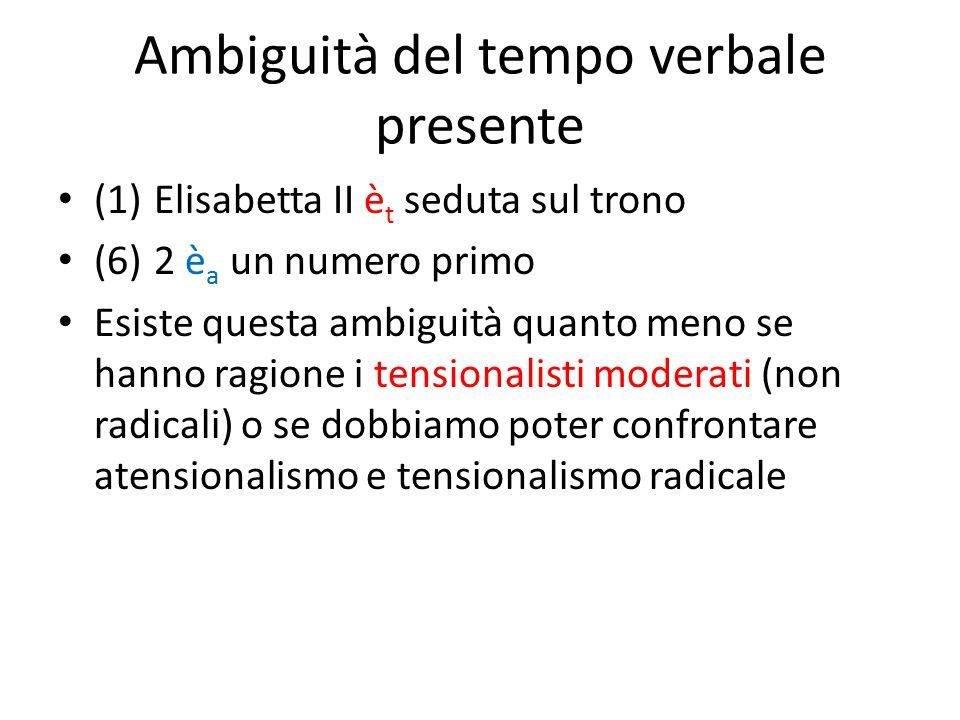 Ambiguità del tempo verbale presente (1)Elisabetta II è t seduta sul trono (6)2 è a un numero primo Esiste questa ambiguità quanto meno se hanno ragio