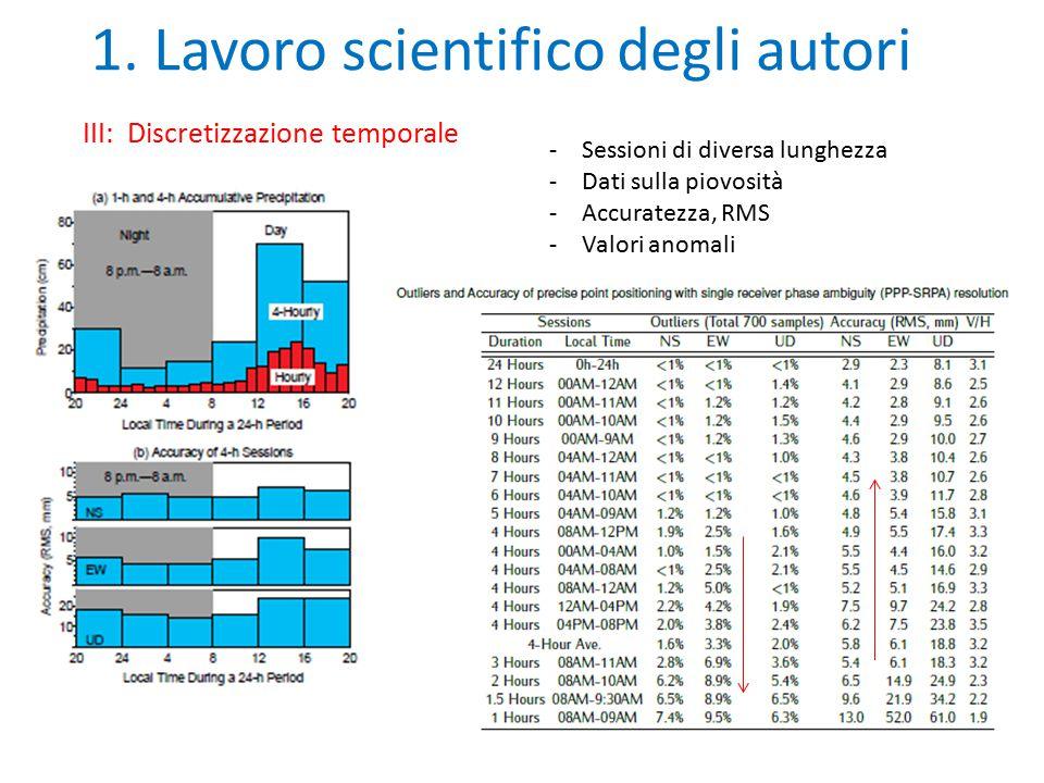 1. Lavoro scientifico degli autori III: Discretizzazione temporale -Sessioni di diversa lunghezza -Dati sulla piovosità -Accuratezza, RMS -Valori anom