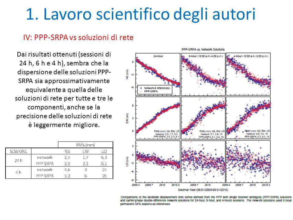 1. Lavoro scientifico degli autori IV: PPP-SRPA vs soluzioni di rete Dai risultati ottenuti (sessioni di 24 h, 6 h e 4 h), sembra che la dispersione d
