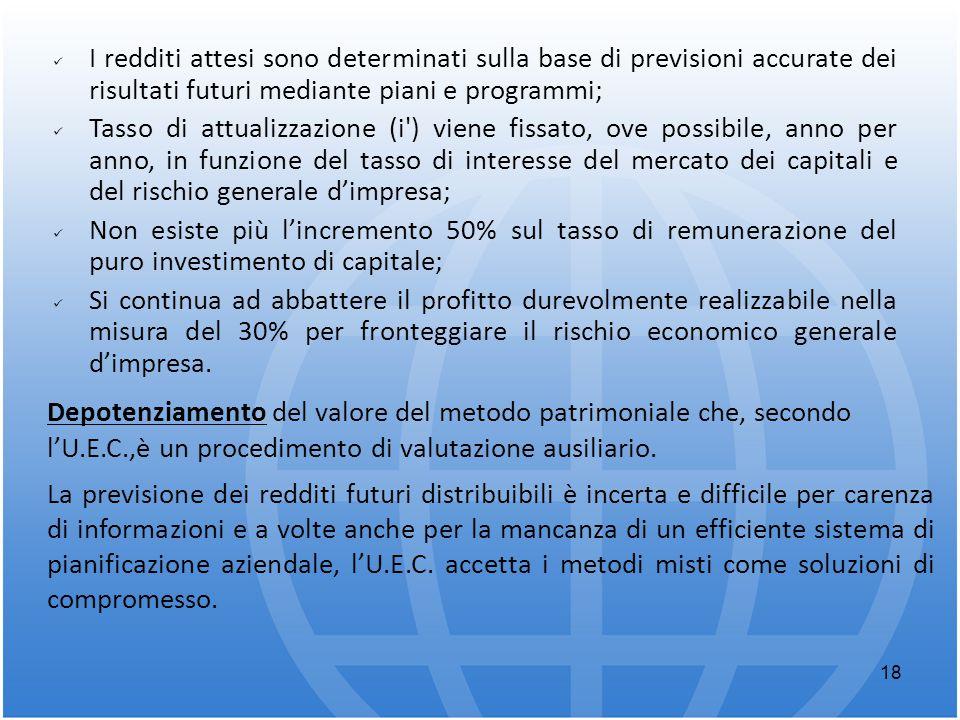 18 I redditi attesi sono determinati sulla base di previsioni accurate dei risultati futuri mediante piani e programmi; Tasso di attualizzazione (i')