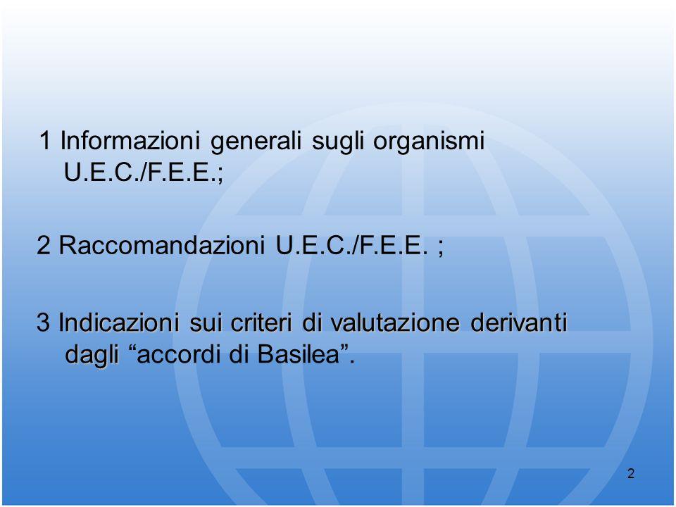 2 1 Informazioni generali sugli organismi U.E.C./F.E.E.; ndicazioni sui criteri di valutazione derivanti 3 Indicazioni sui criteri di valutazione deri