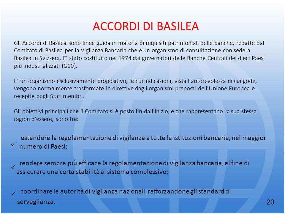 ACCORDI DI BASILEA Gli Accordi di Basilea sono linee guida in materia di requisiti patrimoniali delle banche, redatte dal Comitato di Basilea per la V