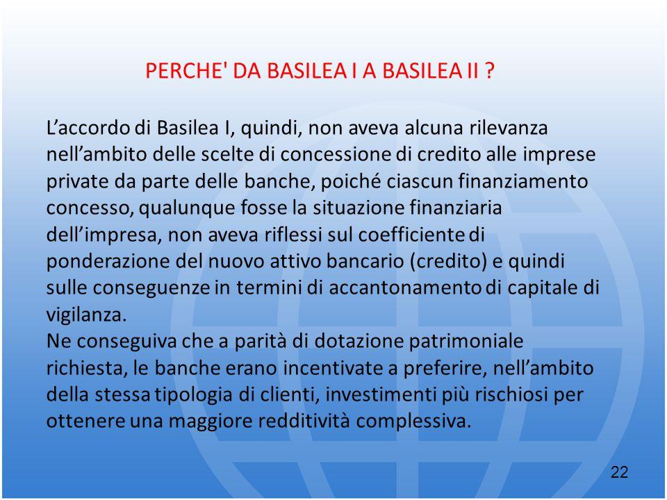 L'accordo di Basilea I, quindi, non aveva alcuna rilevanza nell'ambito delle scelte di concessione di credito alle imprese private da parte delle banc