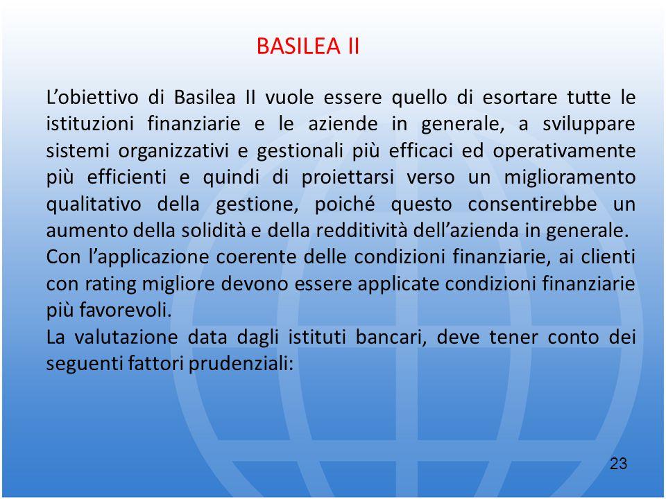 BASILEA II L'obiettivo di Basilea II vuole essere quello di esortare tutte le istituzioni finanziarie e le aziende in generale, a sviluppare sistemi o