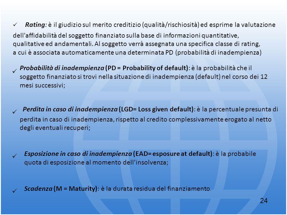 Rating: è il giudizio sul merito creditizio (qualità/rischiosità) ed esprime la valutazione dell'affidabilità del soggetto finanziato sulla base di in