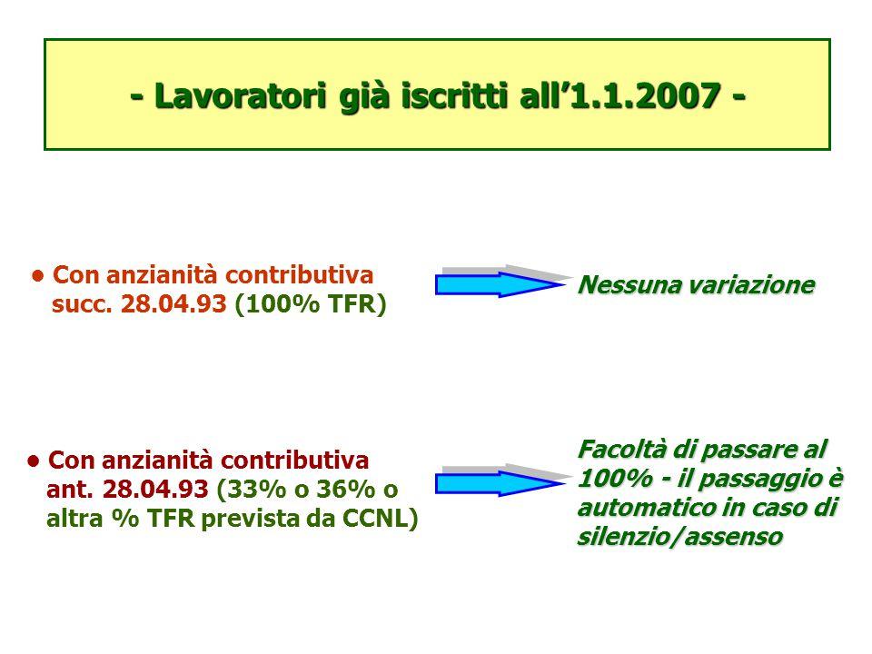 - Lavoratori già iscritti all'1.1.2007 - Con anzianità contributiva succ. 28.04.93 (100% TFR) Con anzianità contributiva ant. 28.04.93 (33% o 36% o al