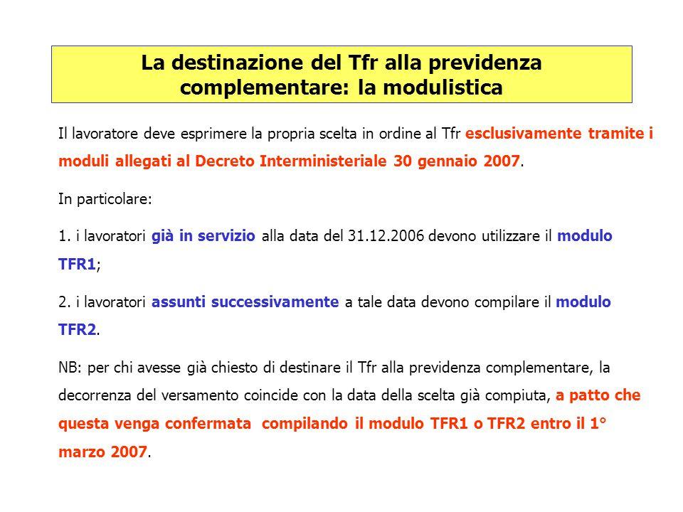 La destinazione del Tfr alla previdenza complementare: la modulistica Il lavoratore deve esprimere la propria scelta in ordine al Tfr esclusivamente t
