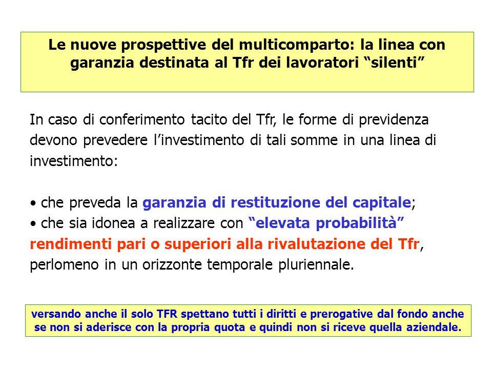 """Le nuove prospettive del multicomparto: la linea con garanzia destinata al Tfr dei lavoratori """"silenti"""" In caso di conferimento tacito del Tfr, le for"""