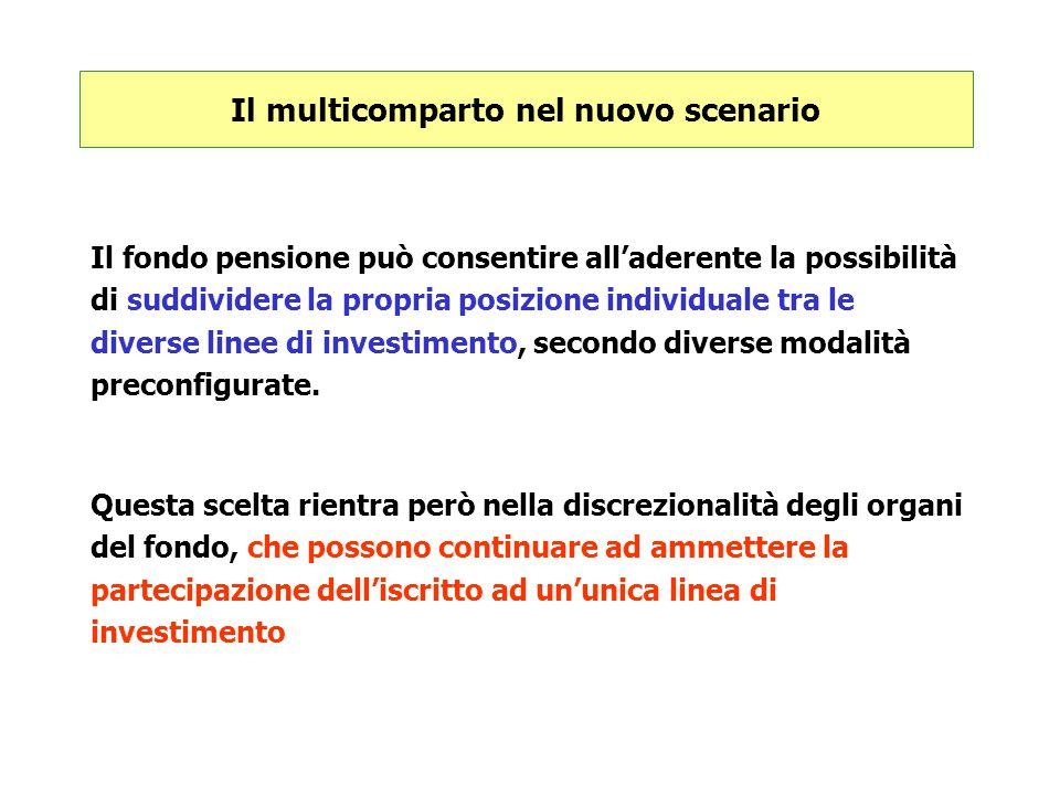 Il multicomparto nel nuovo scenario Il fondo pensione può consentire all'aderente la possibilità di suddividere la propria posizione individuale tra l