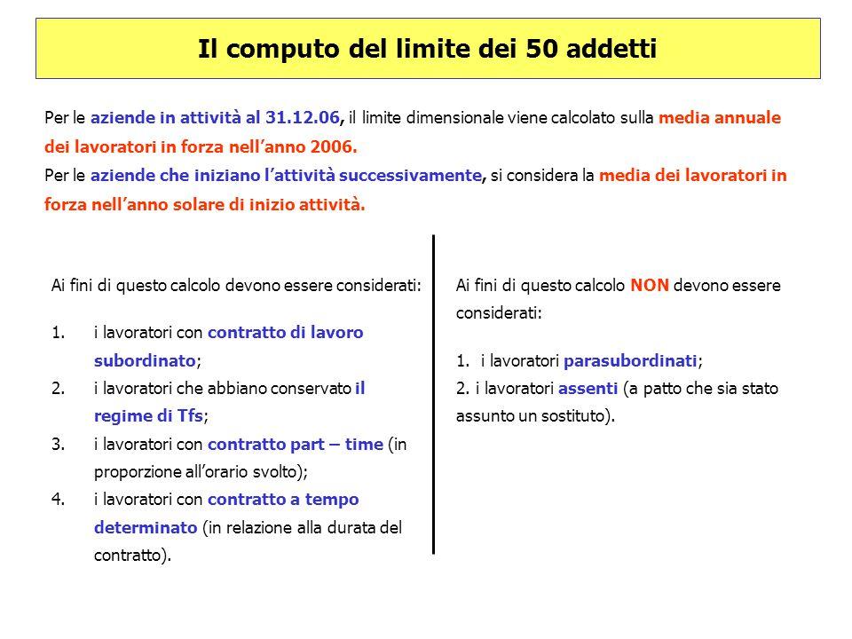 Il computo del limite dei 50 addetti Per le aziende in attività al 31.12.06, il limite dimensionale viene calcolato sulla media annuale dei lavoratori