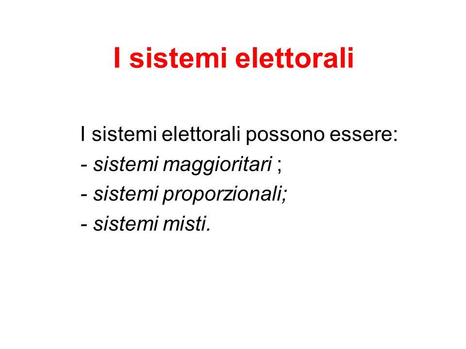 I sistemi elettorali I sistemi elettorali possono essere: - sistemi maggioritari ; - sistemi proporzionali; - sistemi misti.