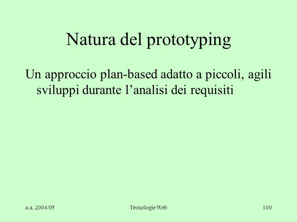 a.a. 2004/05Tecnologie Web100 Natura del prototyping Un approccio plan-based adatto a piccoli, agili sviluppi durante l'analisi dei requisiti