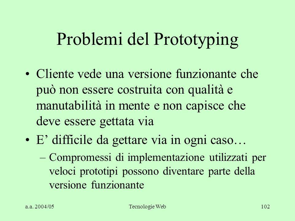a.a. 2004/05Tecnologie Web102 Problemi del Prototyping Cliente vede una versione funzionante che può non essere costruita con qualità e manutabilità i