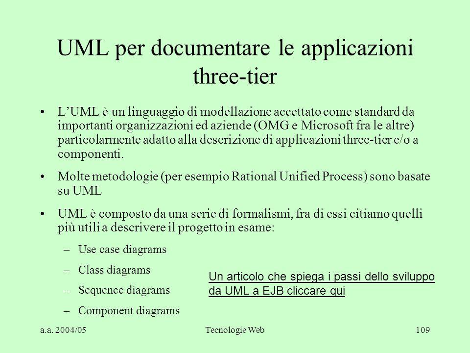 a.a. 2004/05Tecnologie Web109 UML per documentare le applicazioni three-tier L'UML è un linguaggio di modellazione accettato come standard da importan