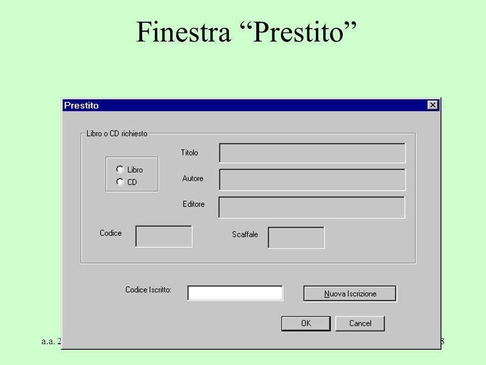 """a.a. 2004/05Tecnologie Web118 Finestra """"Prestito"""""""