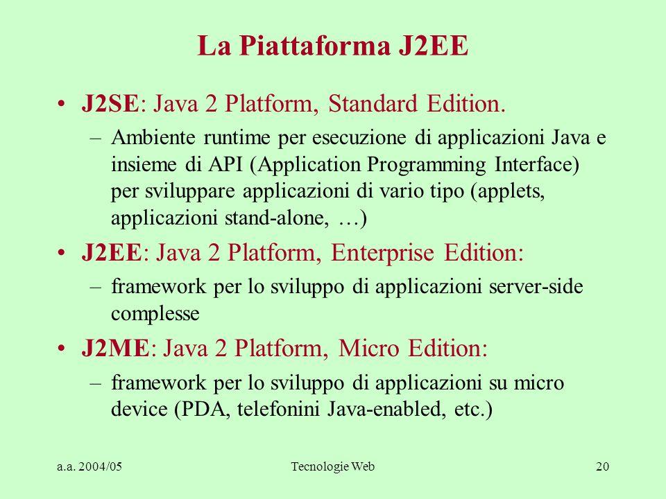 a.a. 2004/05Tecnologie Web20 La Piattaforma J2EE J2SE: Java 2 Platform, Standard Edition. –Ambiente runtime per esecuzione di applicazioni Java e insi
