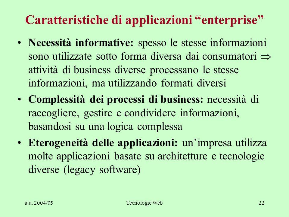 """a.a. 2004/05Tecnologie Web22 Caratteristiche di applicazioni """"enterprise"""" Necessità informative: spesso le stesse informazioni sono utilizzate sotto f"""