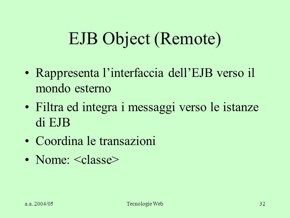 a.a. 2004/05Tecnologie Web32 EJB Object (Remote) Rappresenta l'interfaccia dell'EJB verso il mondo esterno Filtra ed integra i messaggi verso le istan