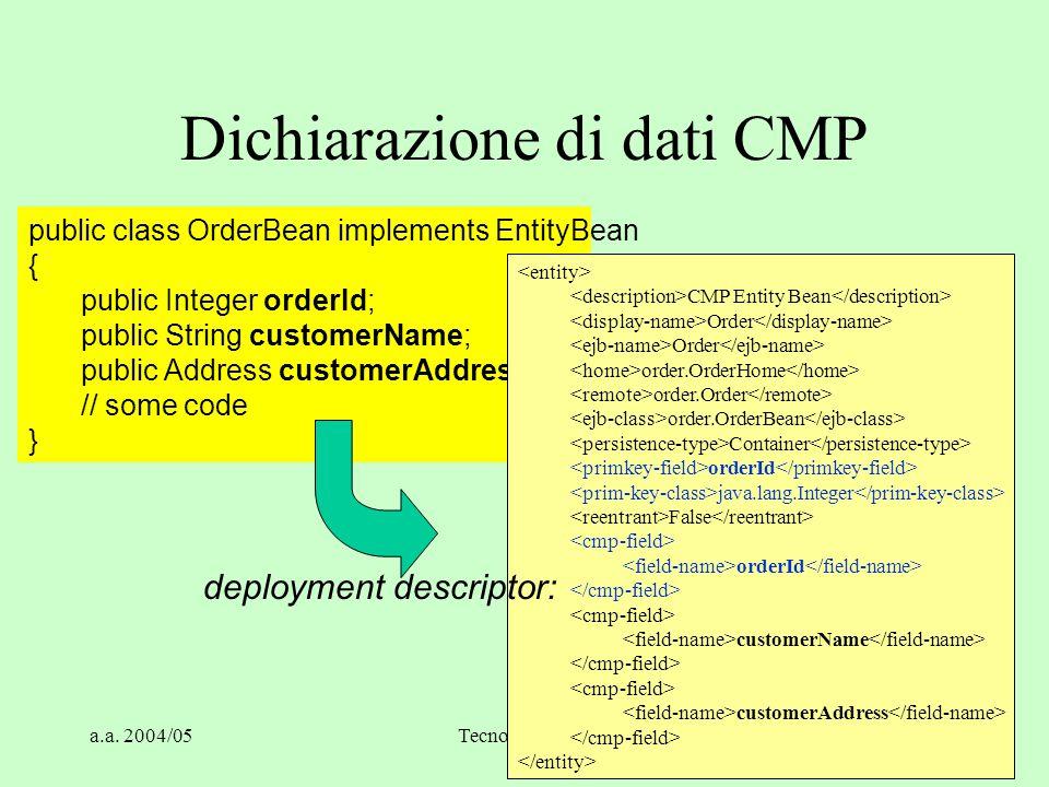 a.a. 2004/05Tecnologie Web44 Dichiarazione di dati CMP public class OrderBean implements EntityBean { public Integer orderId; public String customerNa