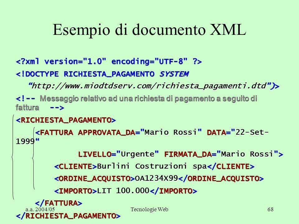 """a.a. 2004/05Tecnologie Web68 Esempio di documento XML <!DOCTYPE RICHIESTA_PAGAMENTO SYSTEM """"http://www.miodtdserv.com/richiesta_pagamenti.dtd"""