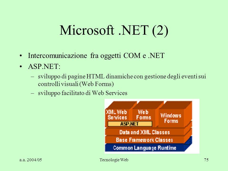 a.a. 2004/05Tecnologie Web75 Microsoft.NET (2) Intercomunicazione fra oggetti COM e.NET ASP.NET: –sviluppo di pagine HTML dinamiche con gestione degli
