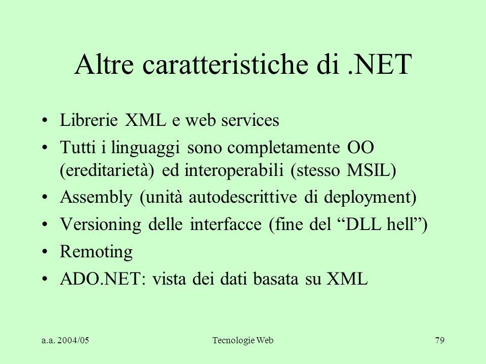a.a. 2004/05Tecnologie Web79 Altre caratteristiche di.NET Librerie XML e web services Tutti i linguaggi sono completamente OO (ereditarietà) ed intero