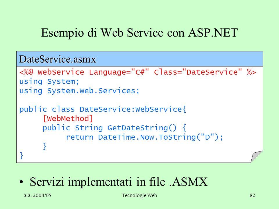 a.a. 2004/05Tecnologie Web82 Esempio di Web Service con ASP.NET using System; using System.Web.Services; public class DateService:WebService{ [WebMeth